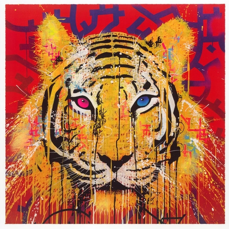 marko93 lithograph blue pink eyes tiger print them all