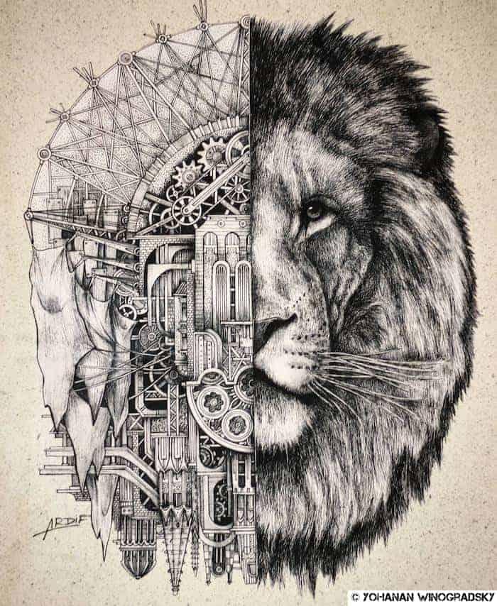 streetart par ardif à Paris près de la bnf rue rené goscinny lion mécanique