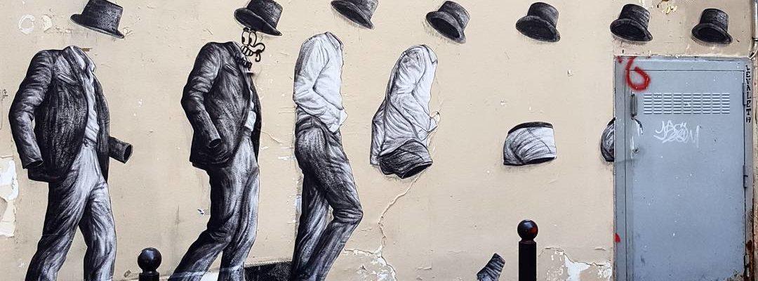 La danse de l'homme invisible – Street art de Levalet, Paris