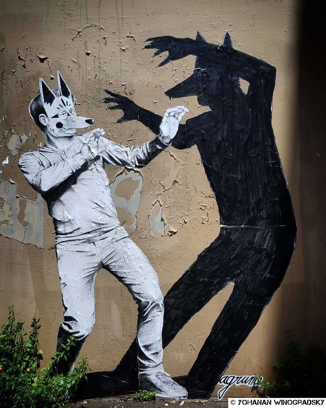 L'ombre est un loup pour l'homme – Street art par Agrume, Paris