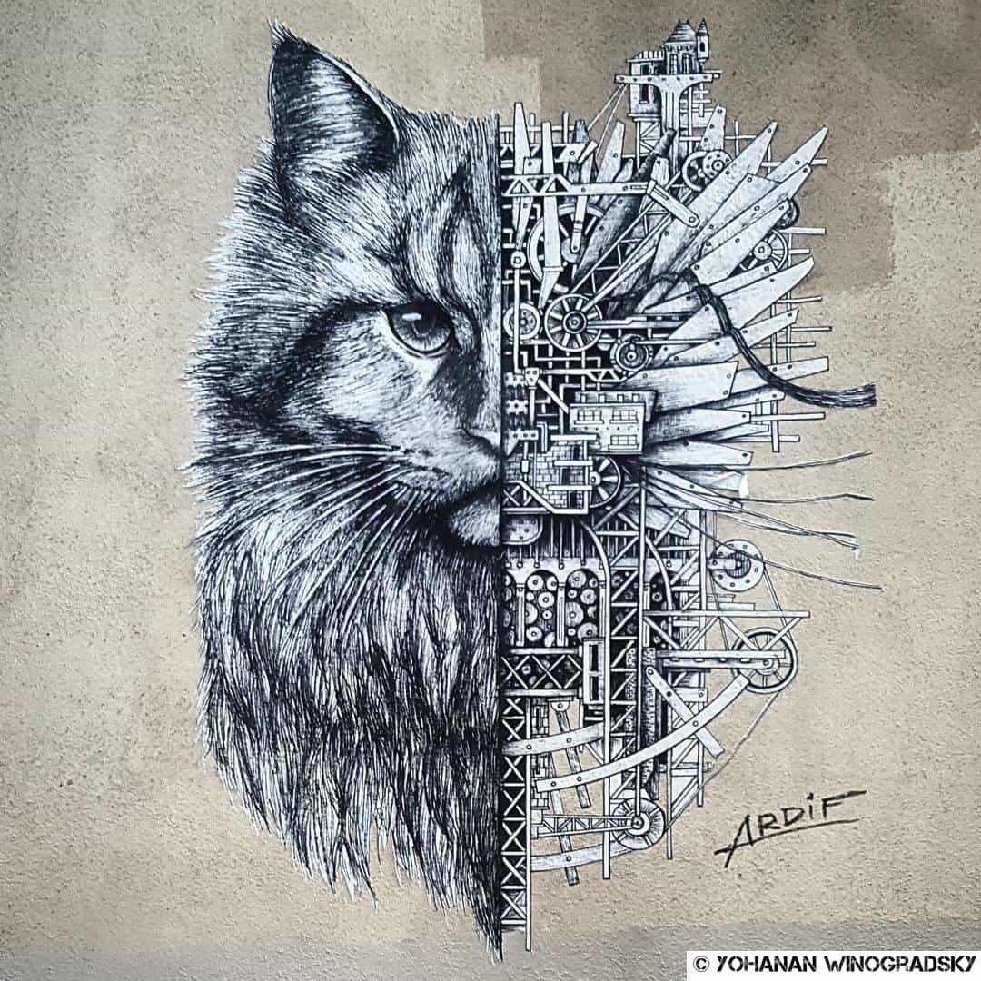 le chat mécanique d'ardif à paris vers alesia