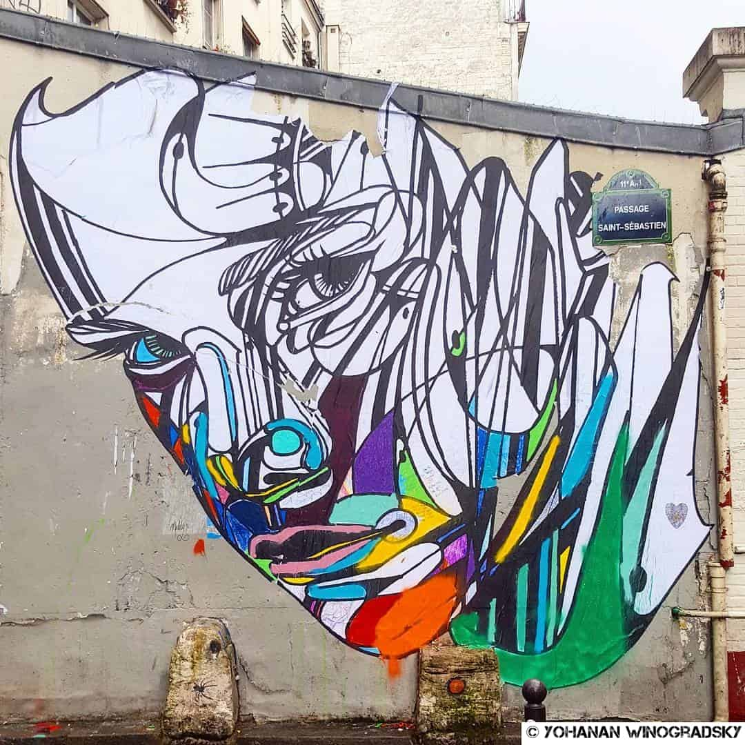 She's a rainbow – Street art d'Hopare, Paris