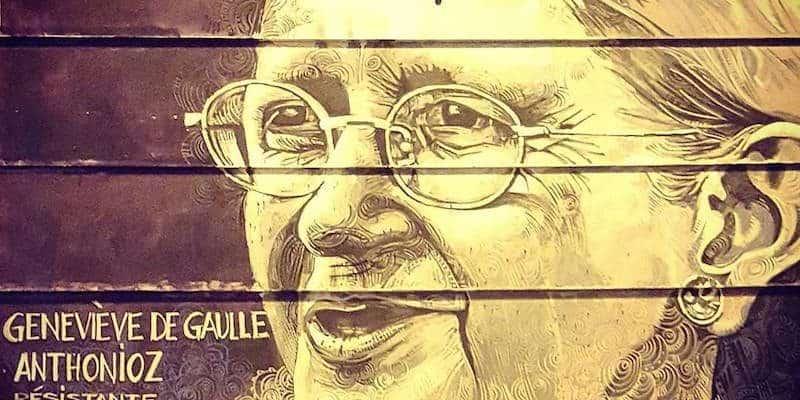 Geneviève de Gaulle Anthonioz – Street art par Ernesto Novo, Paris